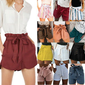 Women High Waist Belted Jeans Shorts Casual Wide Leg Paperbag Shorts Hot Pants
