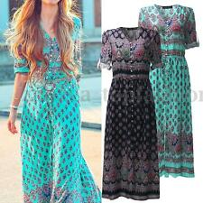 Boho Womens Long Sleeve Floral Print Ethnic Buttons V Neck Loose Long Maxi Dress