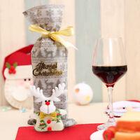 Merry Christmas Santa Bear Wine Bottle Bag Cover Xmas Dinner Party Table Decor