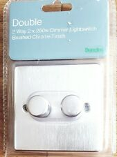 Dunelm Double 2 Way 2*250W Dimmer Light switch Brushed Chrome Finish