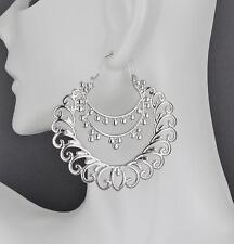 "Silver earrings hoops filigree medallion swirl earrings door knocker hoop 2"""