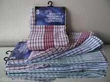 18 x WHOLESALE CHECK DESIGN KITCHEN TEA TOWELS PACK OF  100% COTTON 3 COLOURS