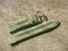20mm green leather plaited watch strap with gilt buckle