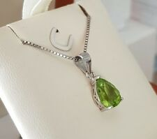 White gold finish natural peridot pear cut pendant necklace gift boxed free post