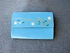Vintage hand painted flowers & leaves genuine sky blue leather key ring holder
