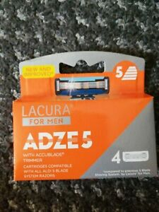 Lacura 5 Blade Razors For Men ADZE 5 with Accublade Trimmer 4 Pack