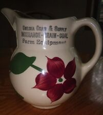 Watt Pottery #15 Starflower Advertising Pitcher CHELSEA GRAIN & SUPPLY MICHIGAN