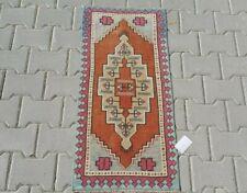 Multicolor Turkish Doormat Rug 2x3ft Vintage Oushak Small Handmade bathroom rug