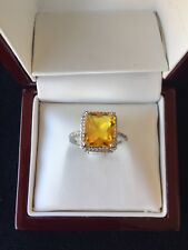 925 Sterling Silver Yellow Canary Topaz Woman's Ring Size 7