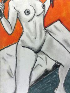 "ACEO original Mixed Media Sketch Card Art nudes woman female Erotic 3.5"" x 2.5"""