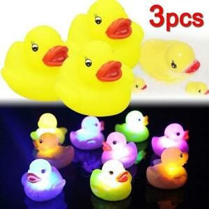 3pc Yellow Rubber Duck Kid Baby Bath Toy LED Light Up Flashing Squeaky Water Toy