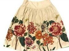 Anthropologie Meadow Rue UK Size 10 / US 6 Linen Botanical flowers full skirt