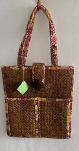 Purse-Vera Bradley Bali Gold Tiki Tote Pink Rattan Beach/ Shoulder Bag