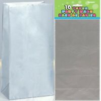 SILVER PAPER PARTY BAGS 26CM(H) X 14CM(W) PACK OF 10 BIRTHDAY PARTY SUPPLIES