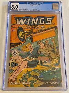 Wings Comics 92 CGC 8.0 Classic Cover! Unheard Of High Grade Condition!