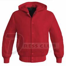 Letterman Baseball Super College Bomber Red Varsity Hooded Sportswear Jackets