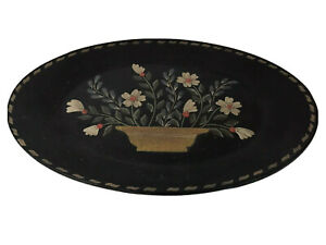 """Primitive Black Wood Floral Tray Oval Flowers 12-3/4"""" Hearthside Collection"""