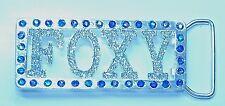 """""""FOXY"""" Rhinestone Encrusted Silver Belt Buckle Flashy Glitter~Disco Fever"""