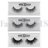 100% Real Mink Natural 3D Volume Thick False Fake Eyelashes Strip Lashes 1 Pair