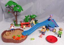PLAYMOBIL Spielplatz Rutsche Sandkasten Fahrrad Drehteller Kinder Frau Bank #20