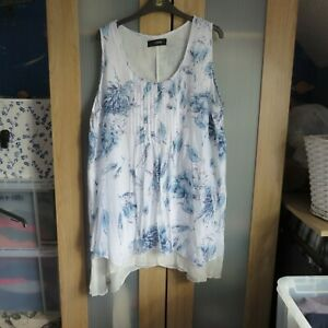 Yours, White/Blue Mix Tunic Top size 22