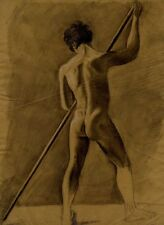 Etude Académique Homme nu de dos Nude dessin original Drawing XIXème siècle