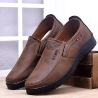 Men's leather slip-on loafers round toe soft sole casual sneaker shoes