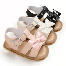So Lovely Toddler Rubber Soles Summer Sandals Baby Girls Faux Leather Crib Shoes