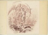ANTIQUE ART VIGNETTE PRINT EGYPTIAN MAN ARROW BOW ANGEL OF DEATH ON 1803 PAPER