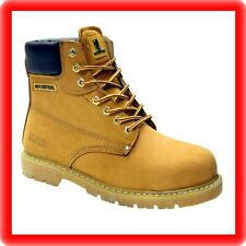 MENS HONEY SAND   TAN NU BUCK  LEATHER  SAFETY BOOTS STEEL TOE CAP  SIZE uk 13