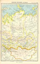 1952 MAP ~ ASIATISCHE RUSSIA CENTRAL ~ MONGOLEI KRASNOJARSK IRKUTSK TOMSK