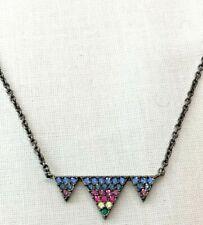 #12 Nadri Rainbow Crystal Triangle Gunmetal Chain Necklace   $48