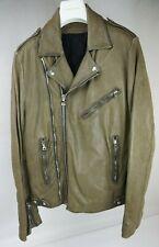 Balmain Olive Biker Leather Men's Moto Jacket Size 52 / 42US