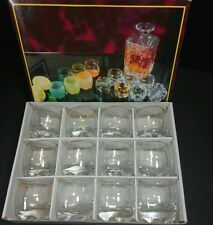 Limoncello Cordial Liqueur Shot Glasses Gold Edged MCM Vintage Barware Set of 12