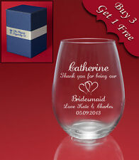 Personalised Engraved STEMLESS Wine Glass-Weddings Birthdays etc-Message+Image