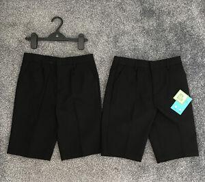 Debenhams Boys School Shorts. Age 10, Black. 2x Pairs, BNWT