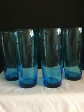 4 Light Blue Slender Drinking Glasses - Holds 12 oz.
