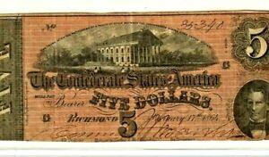 "$5 ""CONFEDERATE""  (BLUEBACK) ""1800'S"" $5 RARE ""BLUEBACK""(1800'S) (BLUEBACK) $5"