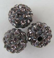 Gray Polymer Clay Crystal Shamballa Beads Zardenia 3pcs Grey Shambala Beads