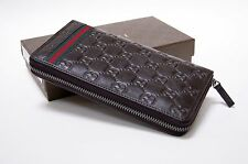 New Gucci Authentic Men's Brown Guccissima Web Zip Around Leather Wallet