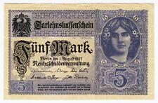 1917 Germany 5 Mark 16305432 Vintage Paper Money Banknote Currency