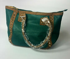 WOMENS BAG GREEN BROWN STUDDED LEATHER UK FAST POSTAGE NEW  QUILTED
