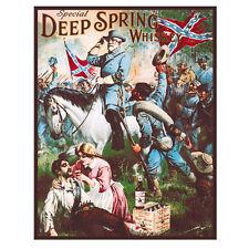 Deep Spring Whiskey Civil War Metal Sign Confederate Soldier Bar Decor 12.5x16