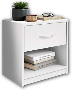 Comodino in Legno Bianco con Cassetto Elegante Moderno per Camera da Letto