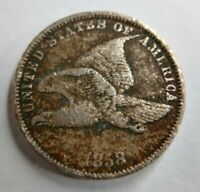 1858 Flying Eagle Cent Small Letters Fine or Very Fine F VF Detail Corrosion