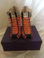 NWB ONLY MAKER Red White Metallic Gladiator Women's Stiletto Sandal Shoe (7)