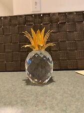 "Swarovski Crystal Large Gold Pineapple Candle Holder 4.5"" 1986 Retired"