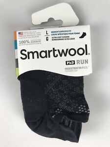 SMARTWOOL PhD RUN Ultra Light Micro No-Show Socks - Womens L (10-12.5) - Black