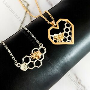 Honeycomb Bee Necklace Honey Silver Gold Pendant Jewellery Birthday + GIFT BOX