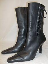 BP Womens Boots Shea-Lea US 10 Black Leather Lace Zip-Up Fashion Dress Heels